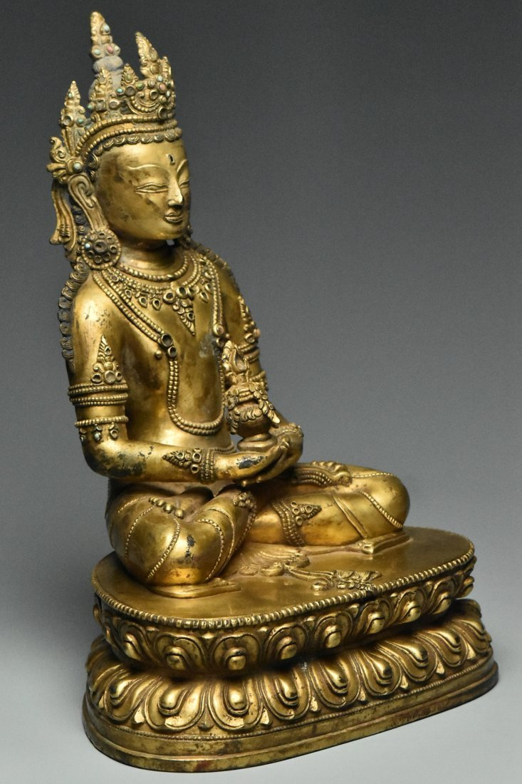 MING DYNASTY GILT BRONZE FIGURE OF BUDDHA 15TH C - 2