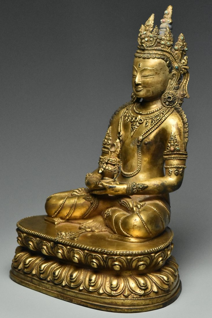 MING DYNASTY GILT BRONZE FIGURE OF BUDDHA 15TH C - 3