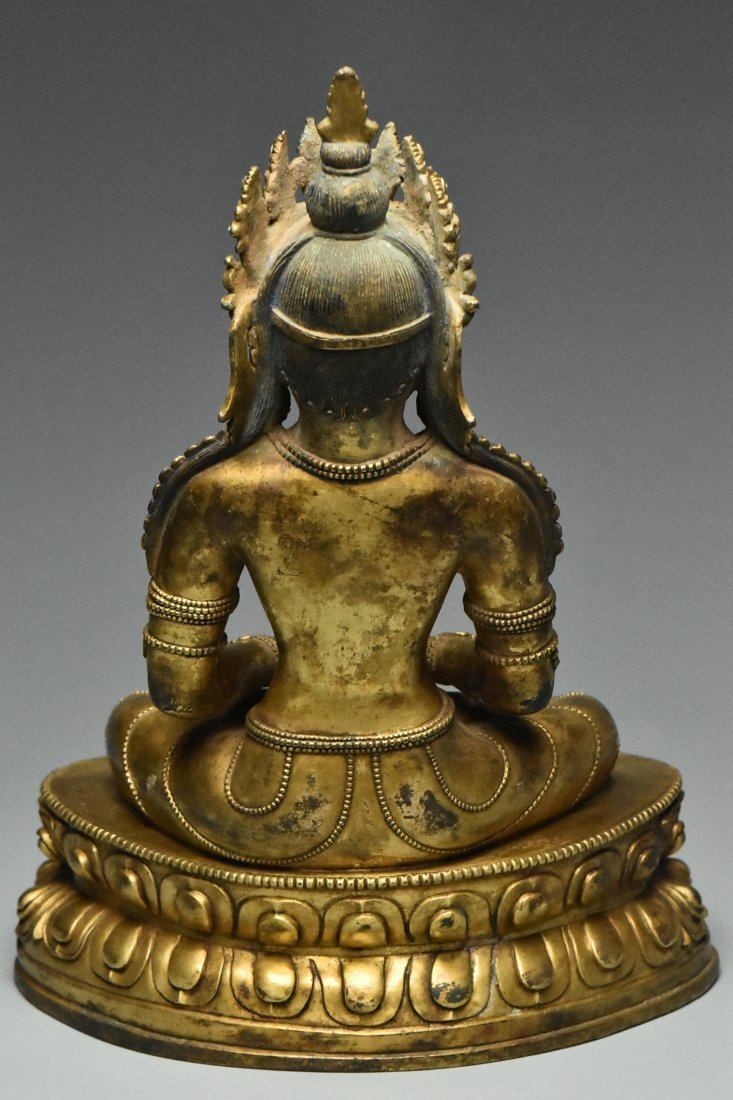 MING DYNASTY GILT BRONZE FIGURE OF BUDDHA 15TH C - 4