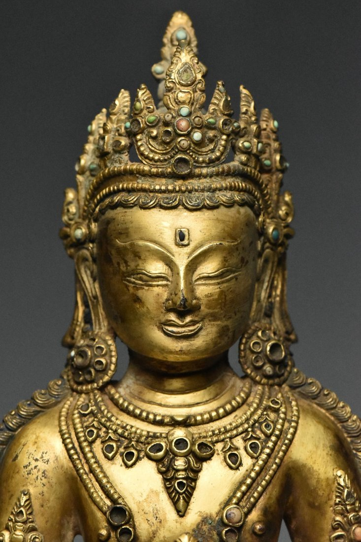 MING DYNASTY GILT BRONZE FIGURE OF BUDDHA 15TH C - 5