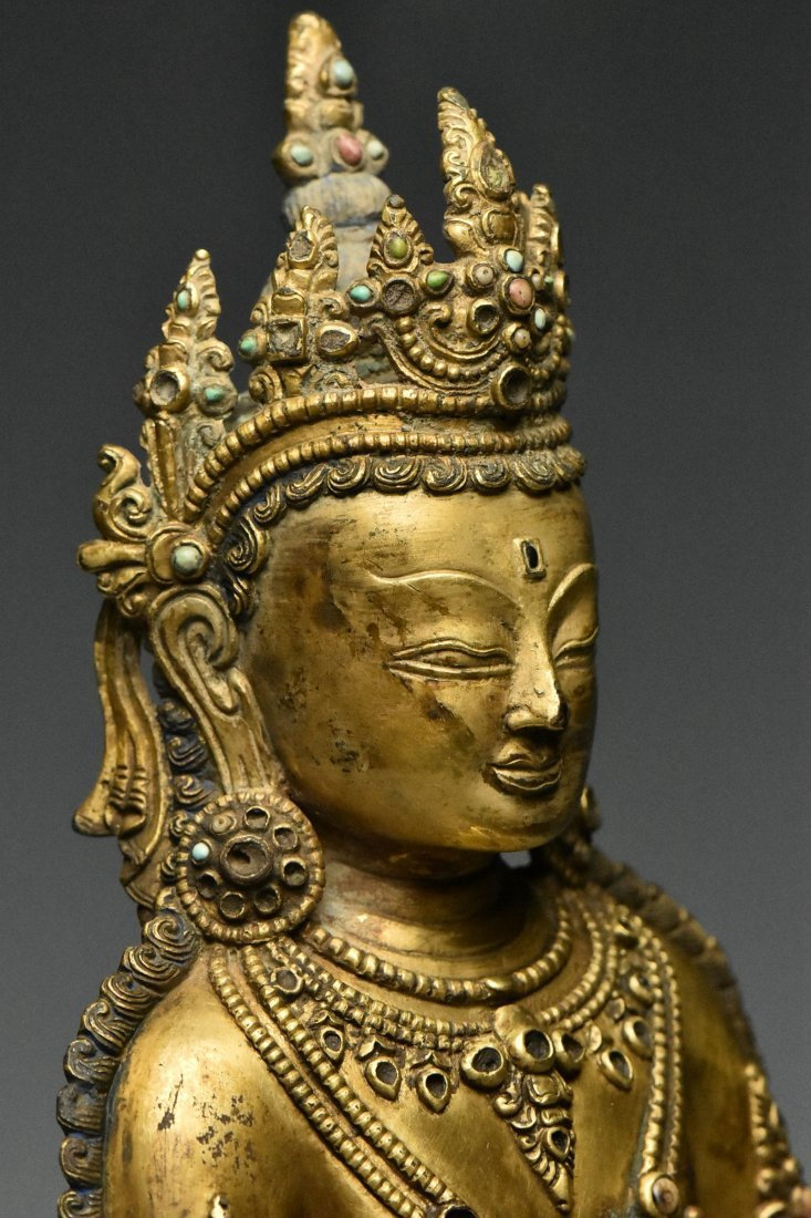 MING DYNASTY GILT BRONZE FIGURE OF BUDDHA 15TH C - 6