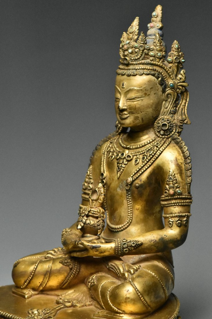 MING DYNASTY GILT BRONZE FIGURE OF BUDDHA 15TH C - 7