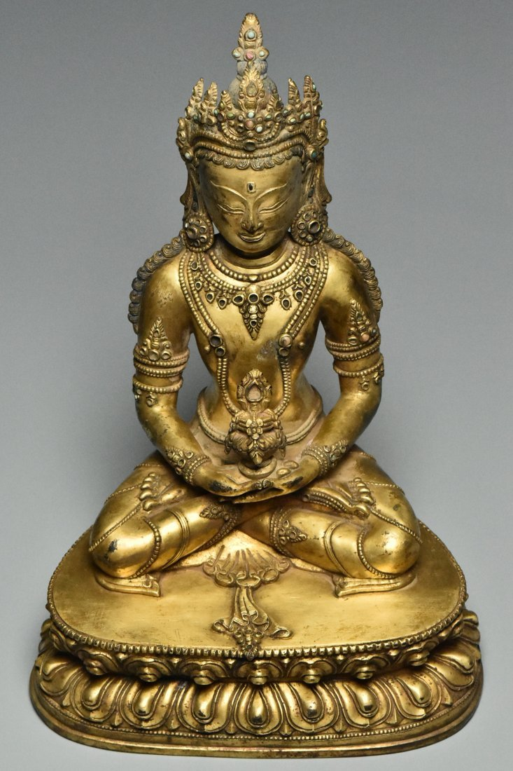 MING DYNASTY GILT BRONZE FIGURE OF BUDDHA 15TH C - 8