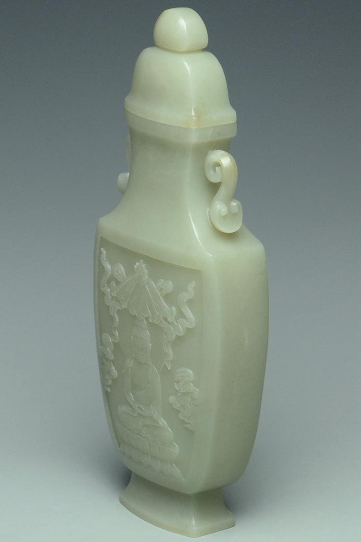 A QING DYNASTY JADE VASE AND COVER - 3