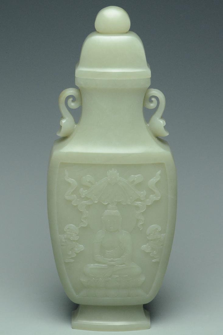A QING DYNASTY JADE VASE AND COVER - 4
