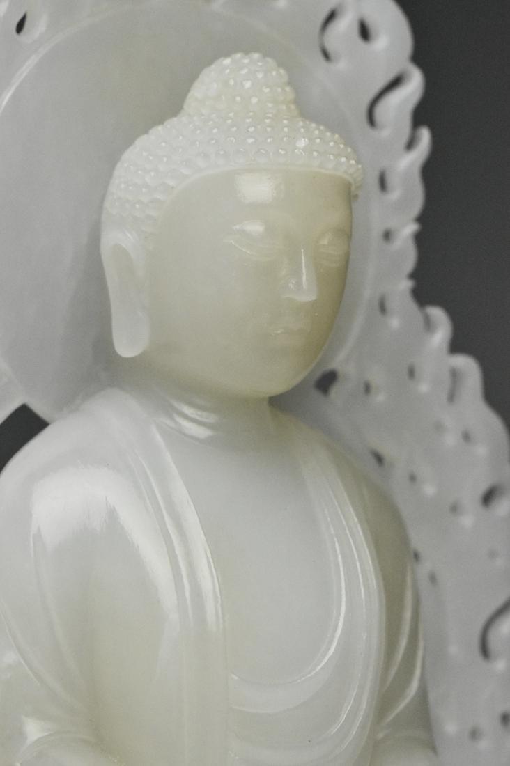A QING DYNASTY WHITE JADE FIGURE OF BUDDHA 18TH C - 10