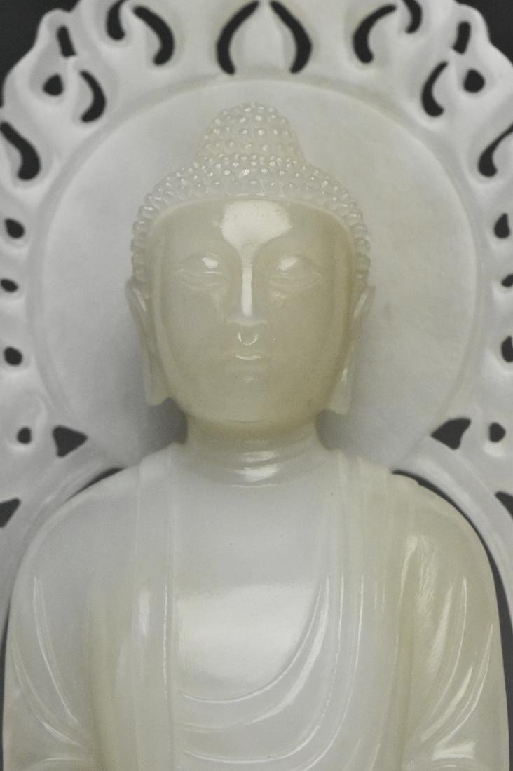 A QING DYNASTY WHITE JADE FIGURE OF BUDDHA 18TH C - 7