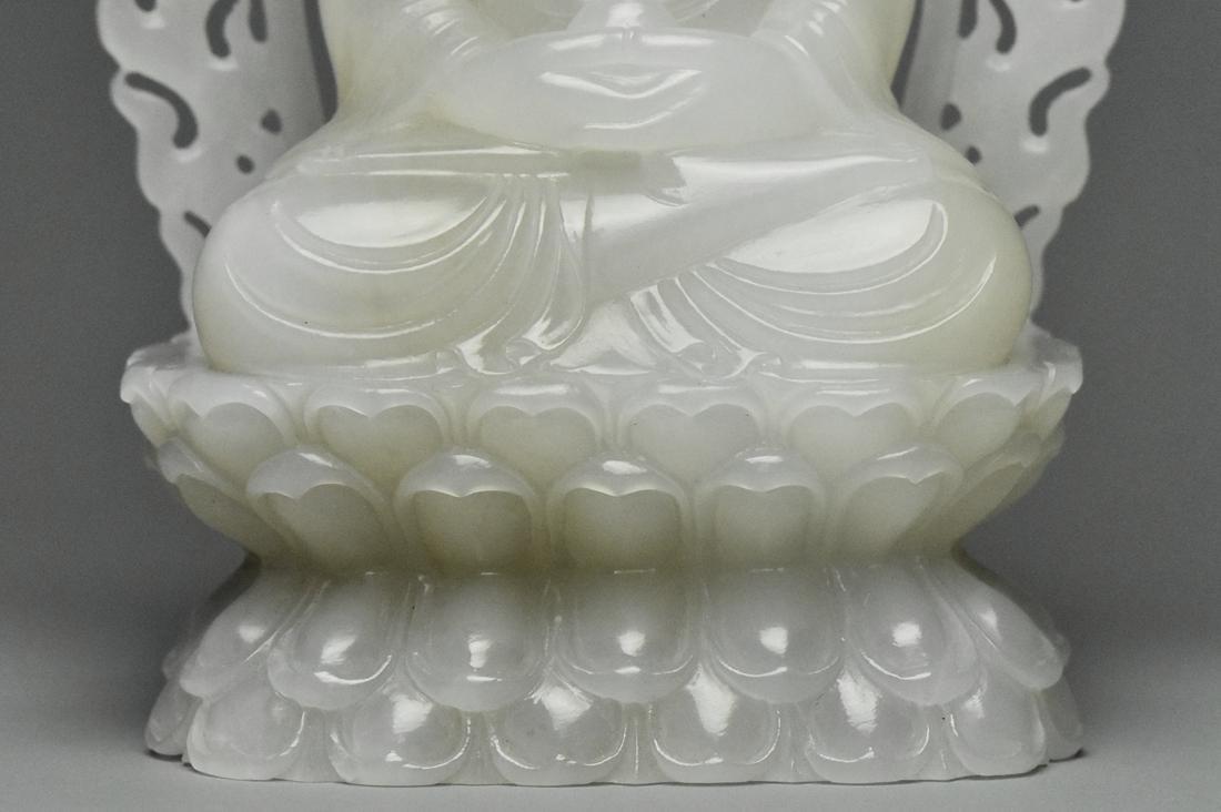 A QING DYNASTY WHITE JADE FIGURE OF BUDDHA 18TH C - 8
