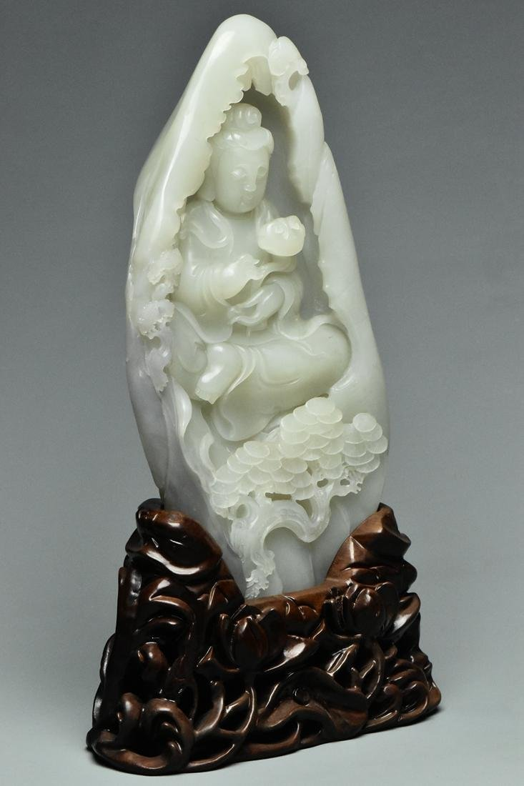 A QING DYNASTY WHITE JADE GUANYIN BOULDER & STAND - 2