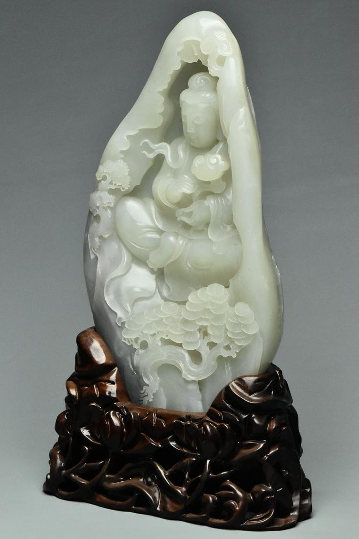 A QING DYNASTY WHITE JADE GUANYIN BOULDER & STAND - 3