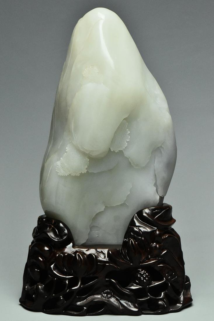A QING DYNASTY WHITE JADE GUANYIN BOULDER & STAND - 4