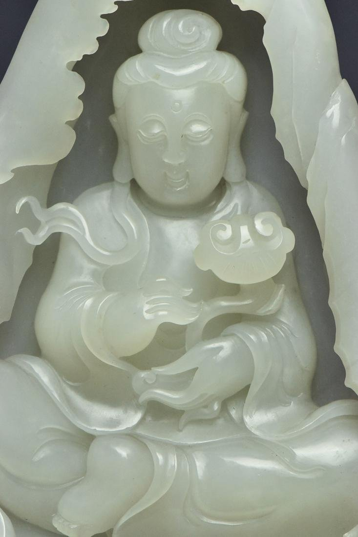 A QING DYNASTY WHITE JADE GUANYIN BOULDER & STAND - 7