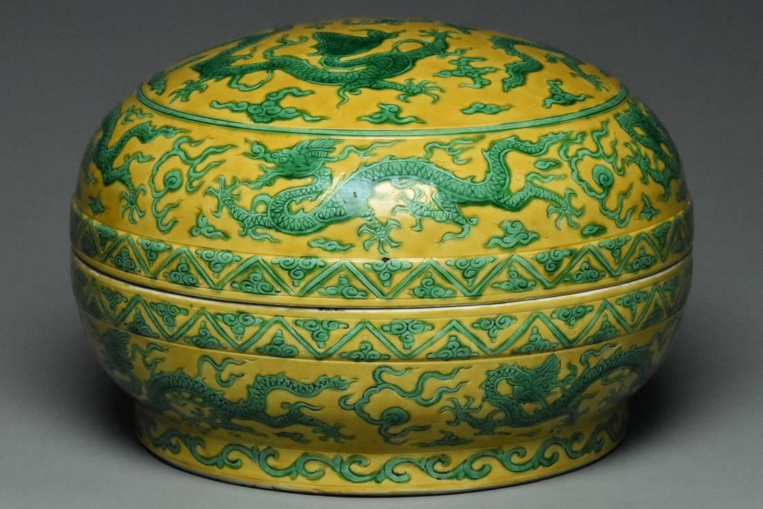 A MING DYNASTY DRAGON BOX JIAJING MARK AND PERIOD
