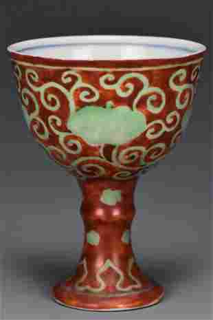 A MING DYNASTY STEM CUP CHENGHUA MARK AND PERIOD