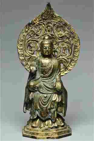 A TANG DYNASTY GILT BRONZE FIGURE OF BUDDHA