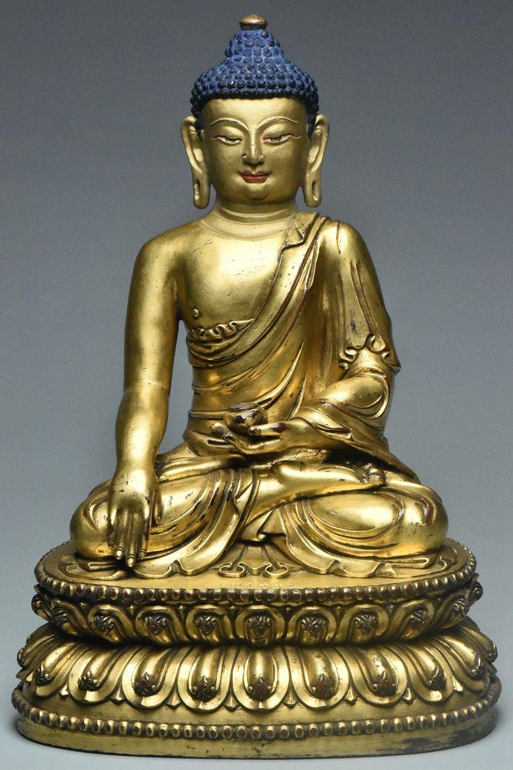 A MING GILT BRONZE BUIDDHA YONGLE MARK AND PERIOD