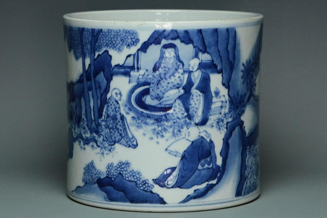 A QING DYNASTY BRUSH POT KANGXI MARK AND PERIOD