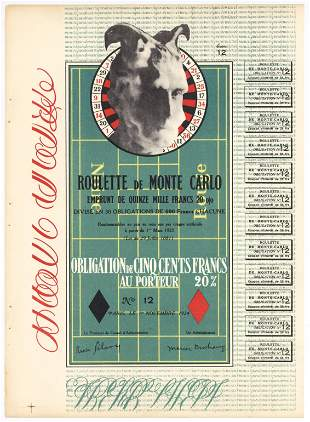 "Marcel Duchamp ""Obligation Monte Carlo"" original"