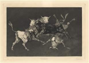 "Francisco Goya original etching ""Lluvia de Toros"""