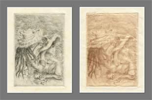 """Renoir """"Le chapeau epingle"""" pair of etchings on japon"""