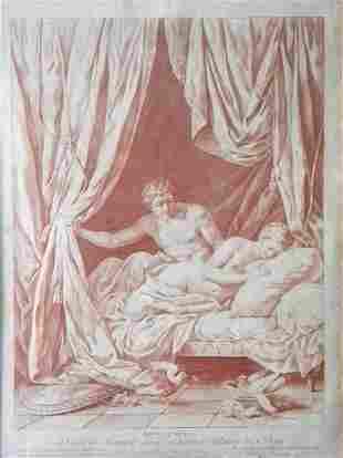 """Louis-Marin Bonnet """"Mars et Venus"""" rare crayon"""