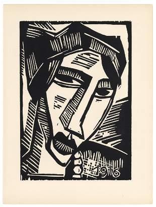 """Karl Schmidt-Rottluff original woodcut """"Frauenkopf"""""""