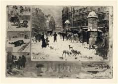 """Felix Buhot """"L'Hiver a Paris"""" original etching"""