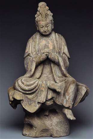 A SONG DYNASTY WOOD FIGURE OF GUANYIN