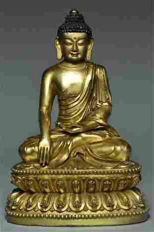 A MING GILT BRONZE BUDDHA YONGLE MARK AND PERIOD