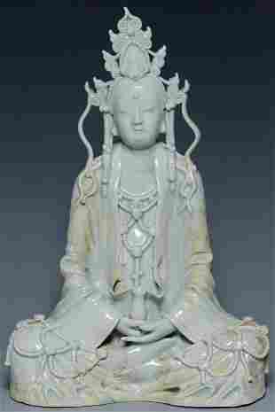 A SONG DYNASTY QINGBAI SEATED FIGURE OF GUANYIN