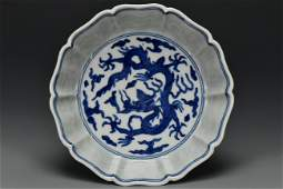 BLUE AND WHITE DRAGON BOWL WANLI MARK AND PERIOD