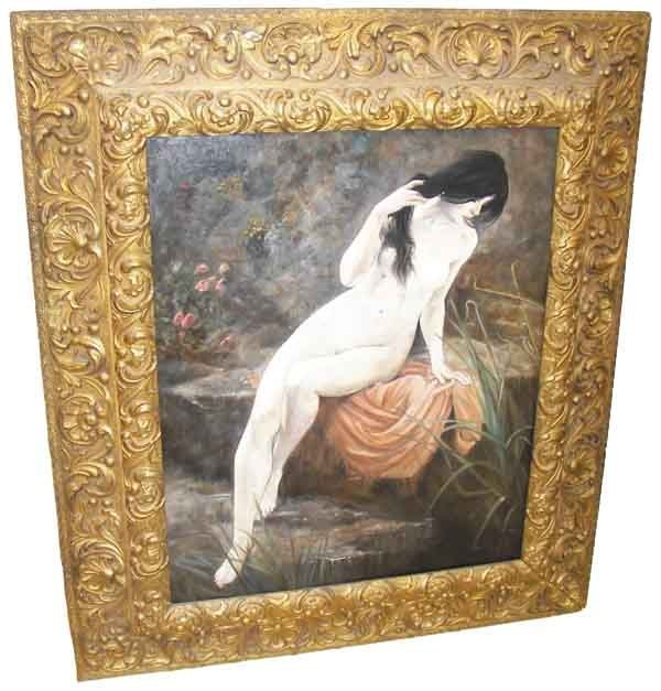 4: Sgd. Larurens 1864 o/c nude woman