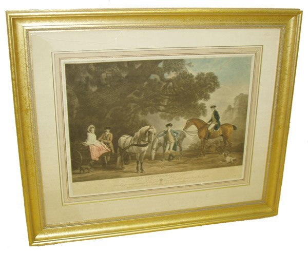 5: 19th C. hand colored engraving family portrait