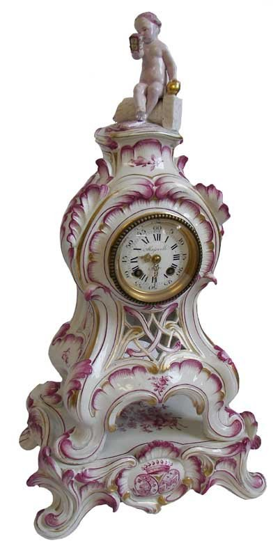 6: 19th C. sgd. Marjorelle porcelain clock w/cupid