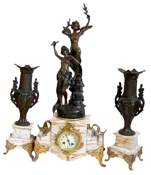 10: 19th C. marble & spelter figural 3 pc. clock set