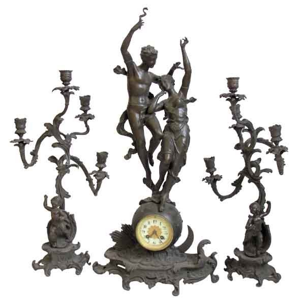 "12: 19th C. figural bronzed 3 pc. clock set 28""h"