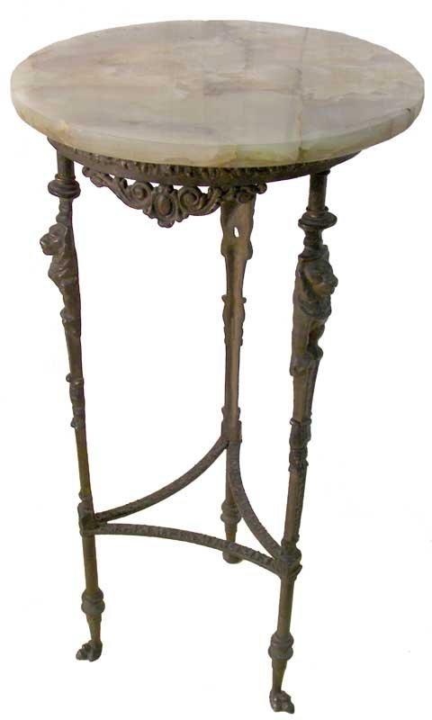 26: Egyptian Revival bronze m/ t stand w/lions