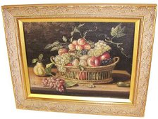 230: Oil on wood floral & fruit sgd. Bartholdi '79