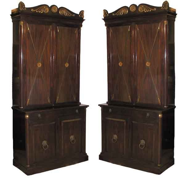 462: Pair of rosewood gilt and bronze mounted cabinets