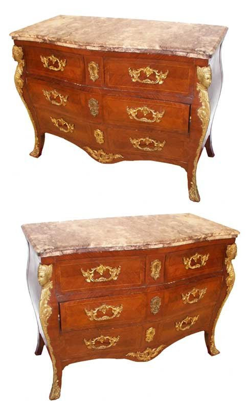 808: Pr. Fr. marble top commodes w/bombe sides