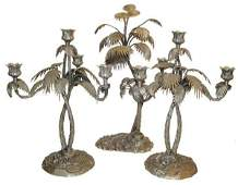 344: 3 pc. bronze & silverplated candelabra set