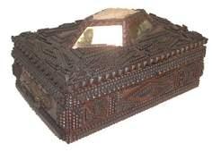 1088: 19th C. tramp art sewing box