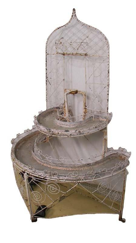 1A: Victorian demilune 2 tier wire art plant stand
