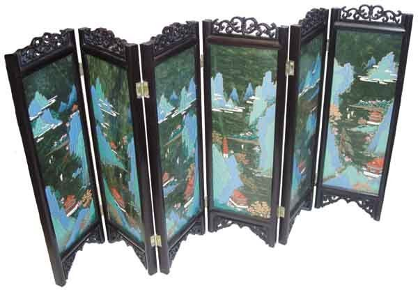 5A: 6 Panel miniature candle screen, rosewood frame