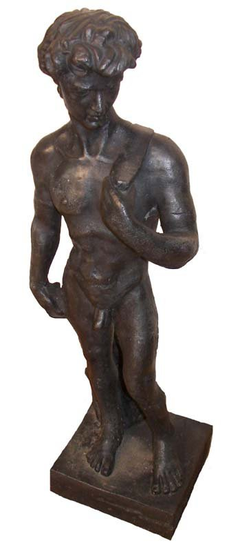"""7A: Early 20th C. 33""""h cast iron figure of nude man"""