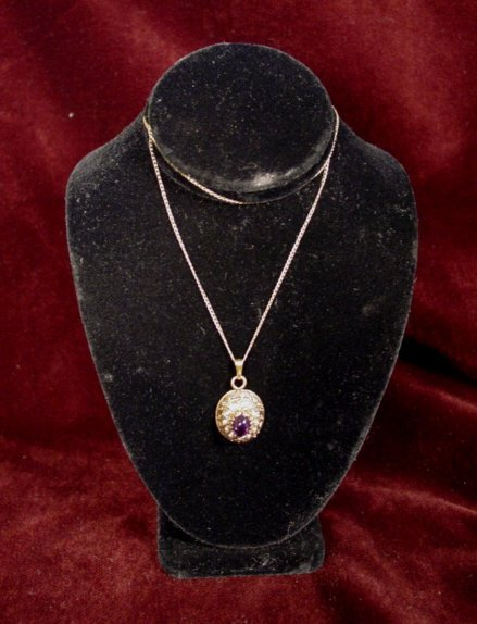 8A: VINTAGE 14K GOLD AMETHYST AND SEED PEARL PENDANT