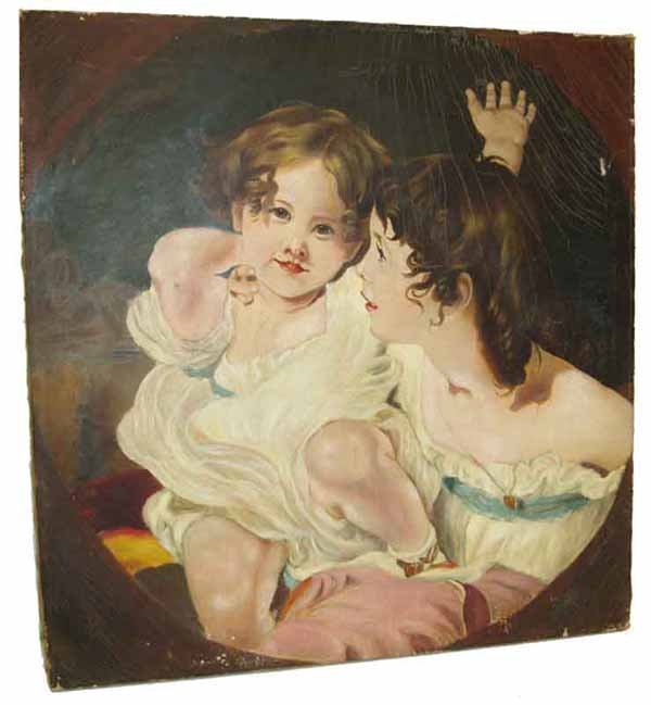 15A: 19th C. oil on canvas of mother and child