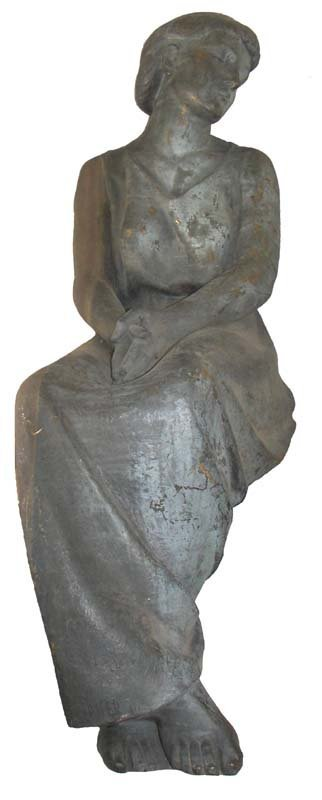 17A: Ca. 1890 life size bronze of seated woman