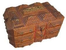 177A: 19th C. tramp art jewelry box