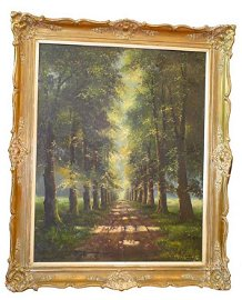 247A: Ca.1900 oil on canvas landscape with country lane